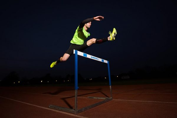 Thomas Barr is an Irish track and field athlete who specializes in the hurdles pictured training at the University of Limerick.  Pictures Sean Curtin FusionShooters.